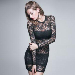 vestido de fiesta negro y sexy con encaje