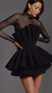 vestido de fiesta negro para boda elegante