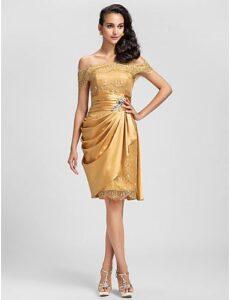 vestido para fiesta corto dorado barato